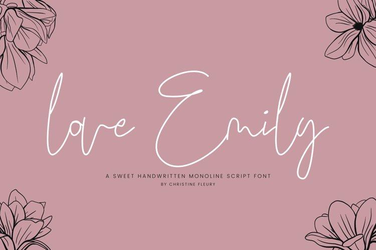 love Emily - A sweet handwritten monoline script font example image 1