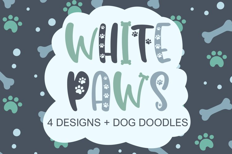 White Paws - 4 Designs With Bonus Doodles example image 1