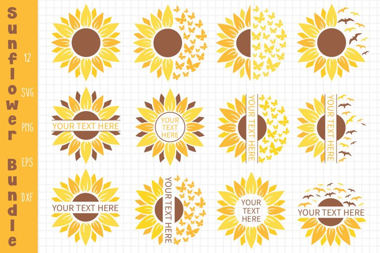 Sunflower Bundle Svg, Sunflower Svg, Sunflower Monogram Svg example