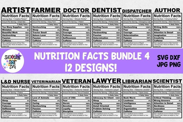 Nutrition Facts SVG Bundle Four
