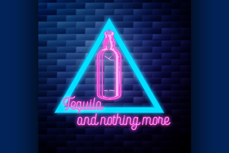 Vintage tequila emblem glowing neon sign example image 1