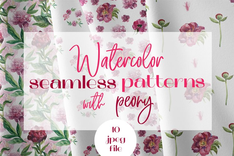 Watercolor Seamless Patterns with Wedding Delicate Peony.