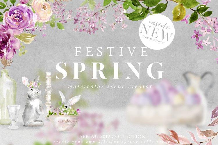 Festive Spring Watercolor Scene Creator