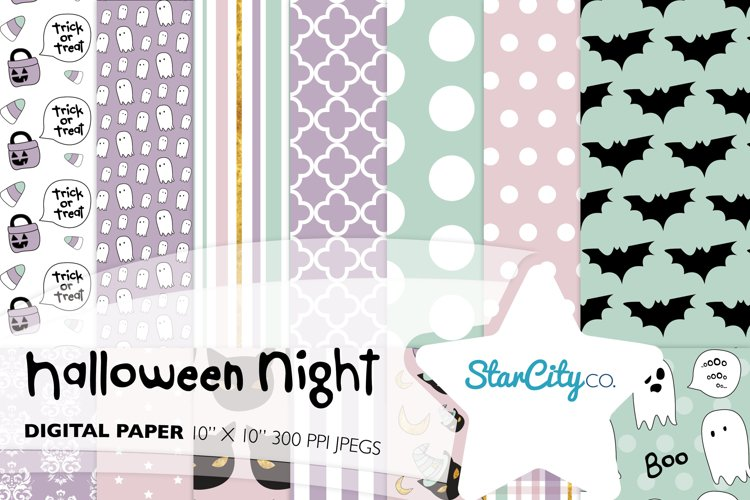 Hand Drawn Halloween Digital Paper in Pastel Colors