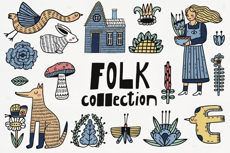 Folk Art Collection,Graphic Farm Set