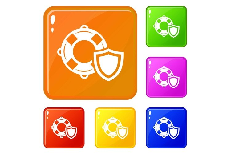 Lifeguard protection icons set vector color example image 1