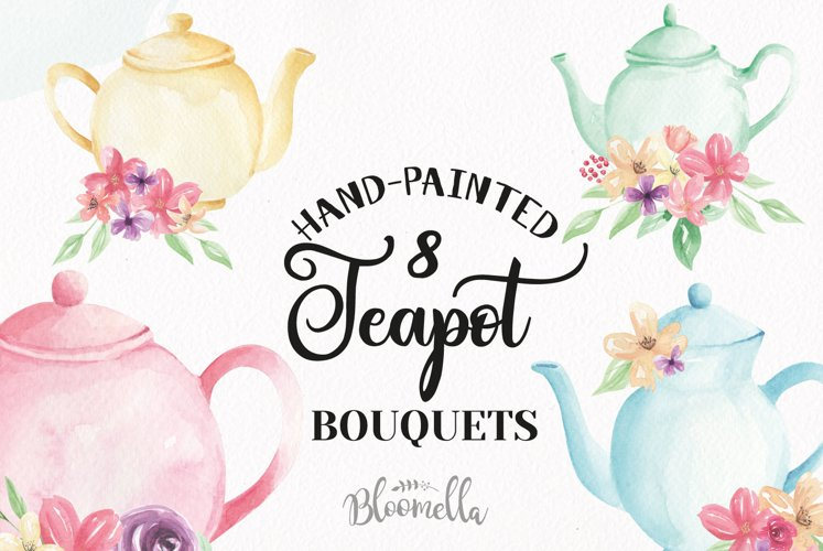 Watercolor Teapots Clipart Bouquets Flowers  Wonderland Florals  Tea example image 1