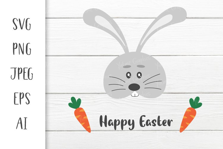 Cute Easter Bunny with carrots. Happy Easter. SVG file.