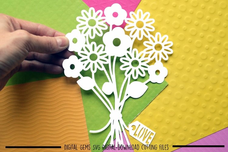 Flower bouquet paper cut SVG / DXF / EPS files example image 1