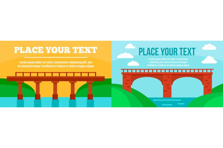 Bridges banner set, flat style example image 1