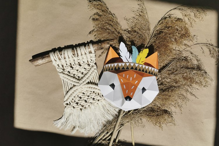 3D model of tribal fox,pattern pdf and silhoettte cameo file example image 1