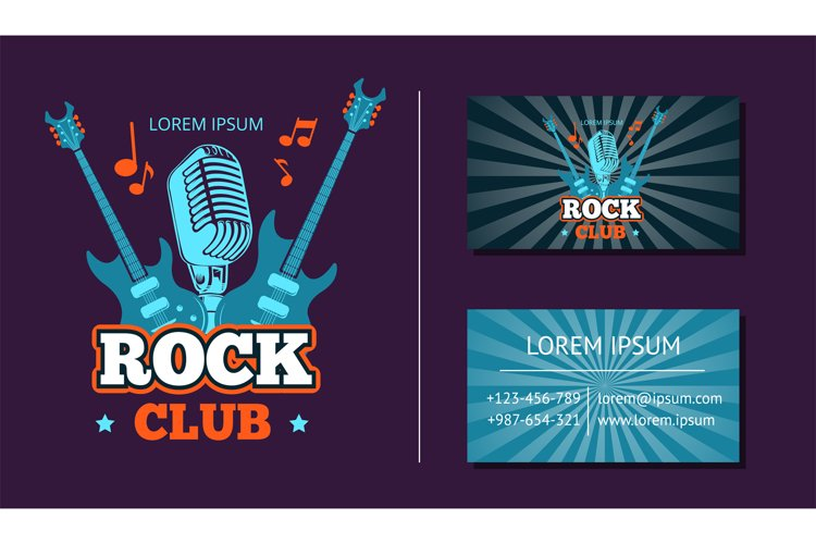 Vector vintage rock music club logo, emblem, badge and busin example image 1