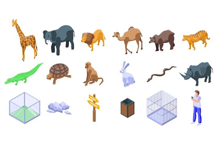Park zoo icons set, isometric style example image 1