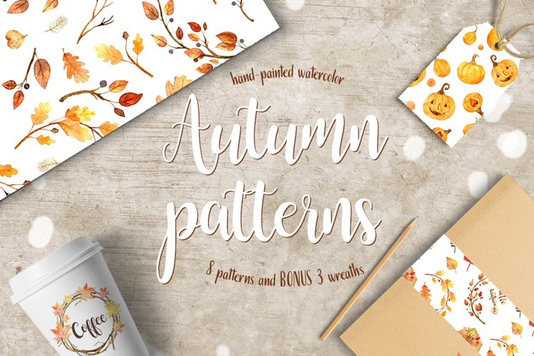 Watercolor autumn patterns example image 1
