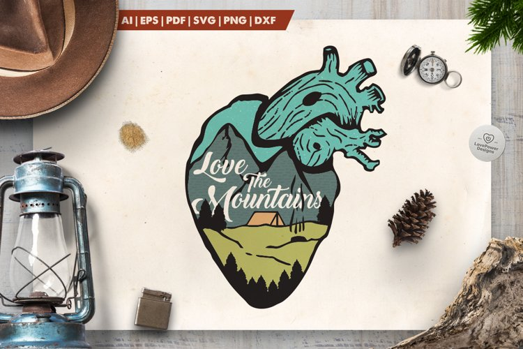 Love the Mountains Logo / Mountain Heart Badge SVG Patch example image 1