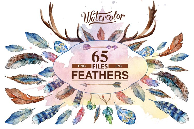 Feather PNG watercolor bird set example image 1
