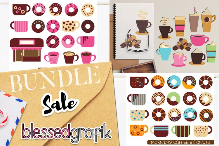 Coffee and donuts clip art illustrations bundle