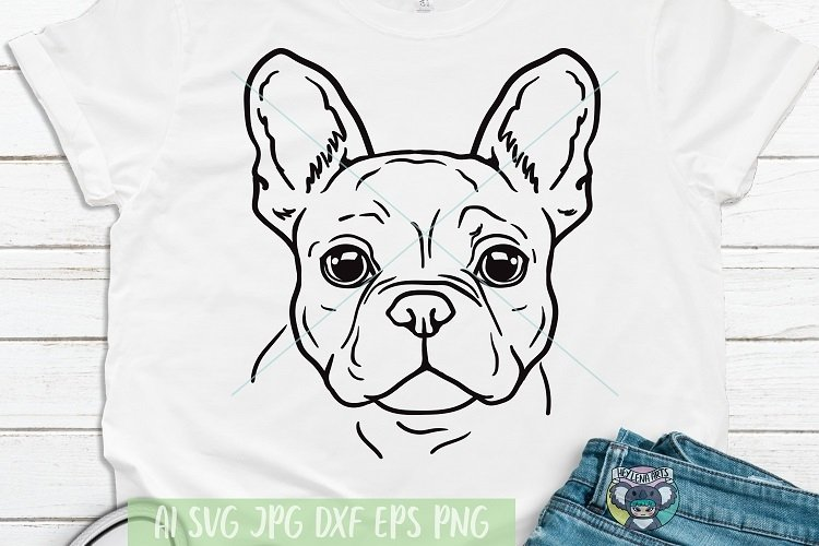 French Bulldog svg, Dog Face svg, Svg Files for Cricut example image 1
