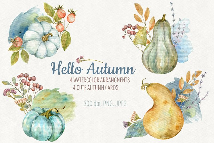 Hello Autumn. Watercolor arrangments and cards example image 1