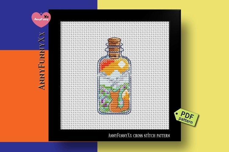 Mini bottle cross stitch pattern PDF, Mason jar Xstitch fox example image 1