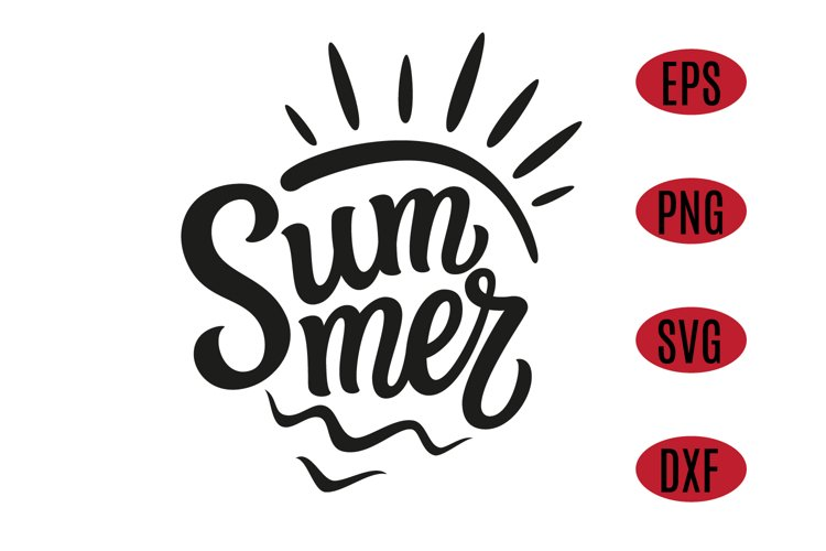 Summer text with sun and waves. SVG Design example image 1
