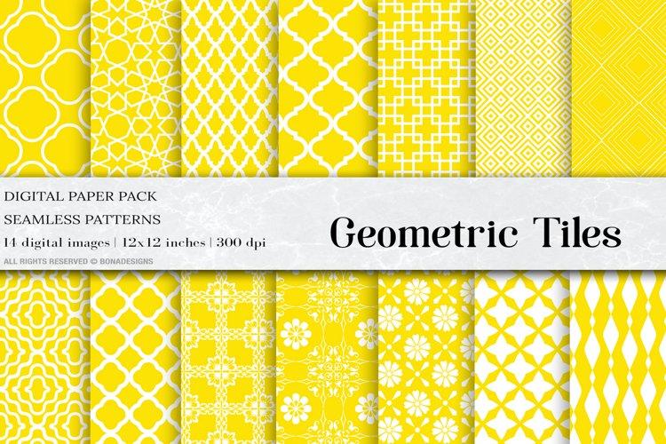 Yellow Geometric Tiles Digital Paper example image 1