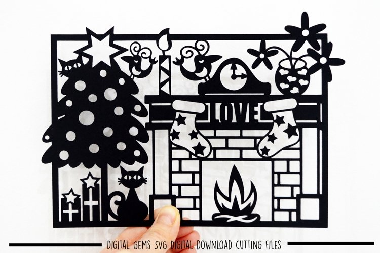 Cat Christmas Paper Cut SVG / DXF / EPS Files example image 1