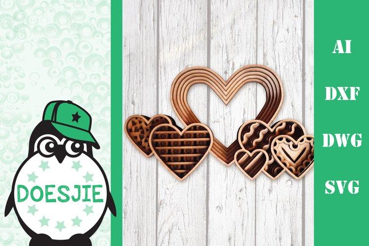 3D layered hearts Valentine hearts love multi layer Mandala