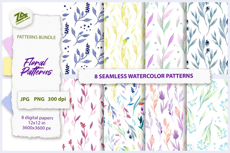 8 Seamless Watercolor Floral Patterns example image 1
