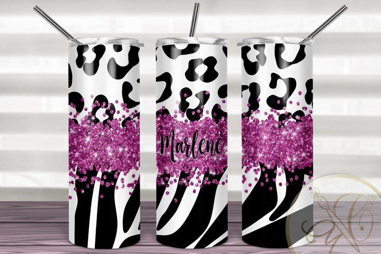 Animal Print Hot Pink Glitter Skinny Tumbler Sublimation example image 1