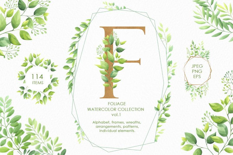 Foliage watercolor collection vol.1 example image 1