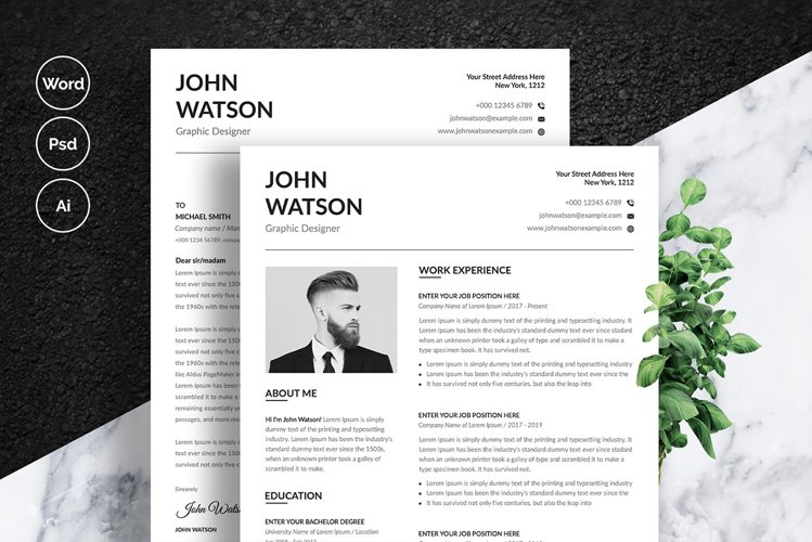 Clean Minimalist Resume Set With Buisness Card example image 1