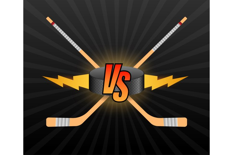 Hockey Versus Logo. VS Vector Letters Illustration