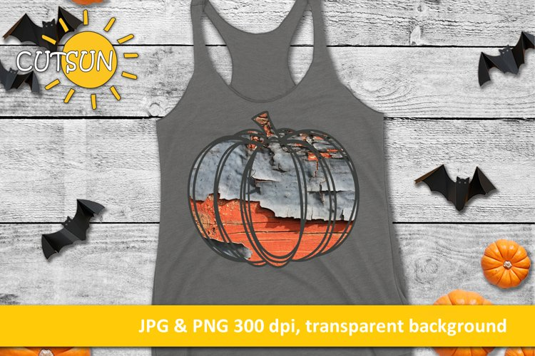 Hand drawn Grunge pumpkin in grey and orange sublimation example image 1