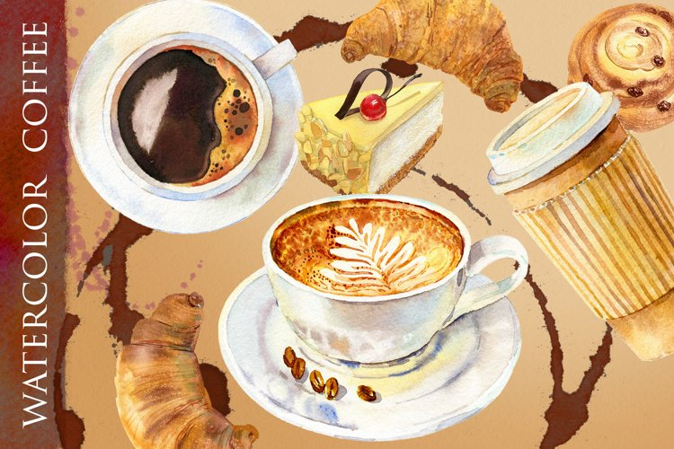 Watercolor coffee and bakery
