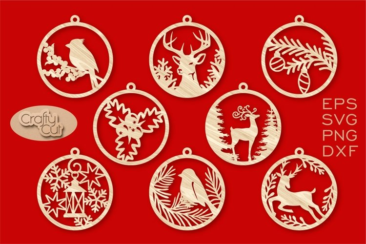 Christmas Tree Decorations. Christmas Bauble. Laser cut SVG