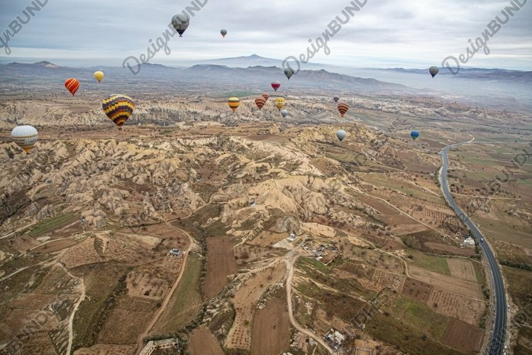 Aerial view flying hot air balloons in Cappadocia Turkey