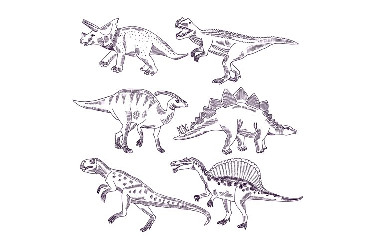 Wild life with dinosaurs. Hand drawn illustrations set of t example image 1