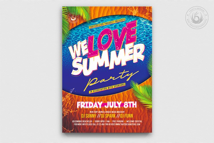 Beach Party Flyer Template V8 example image 1