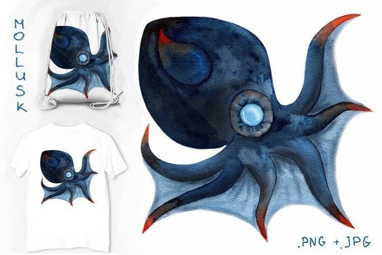 Octopus mollusk watercolor illustration