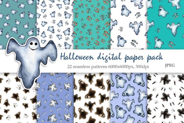 Watercolor Halloween Seamless Patterns. Digital paper pack