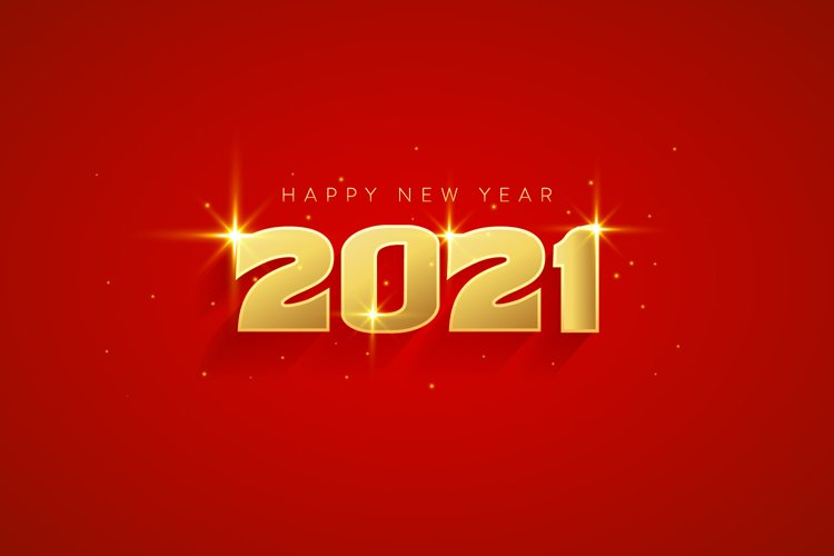 Luxury Happy New Year 2021 with Elegant Gold Color