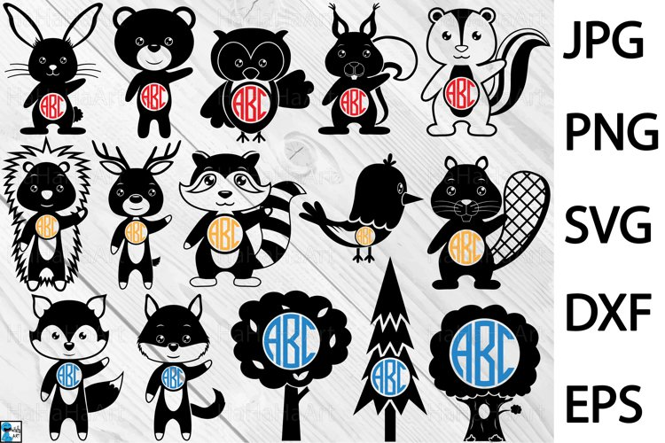 Monogram Forest Animals - Clip art / Cutting Files 229c example image 1
