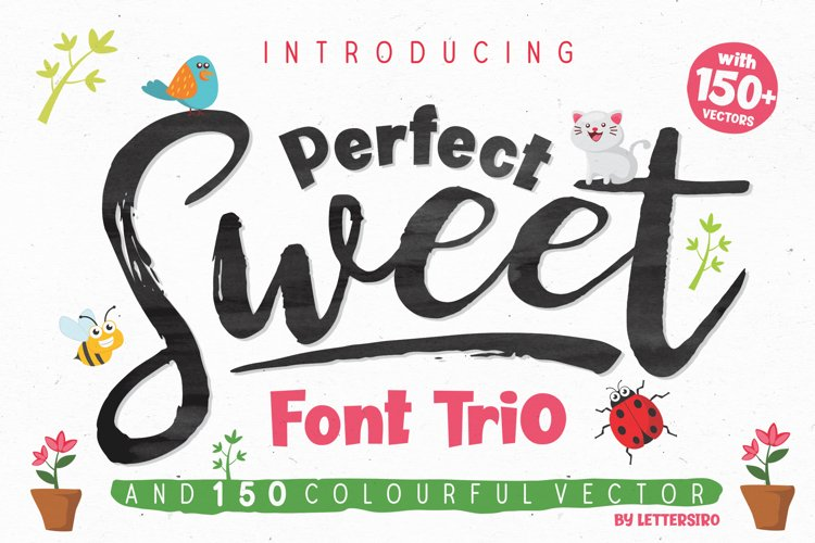Perfect Sweet - Font Trio and 150 Colourful Vectors example image 1
