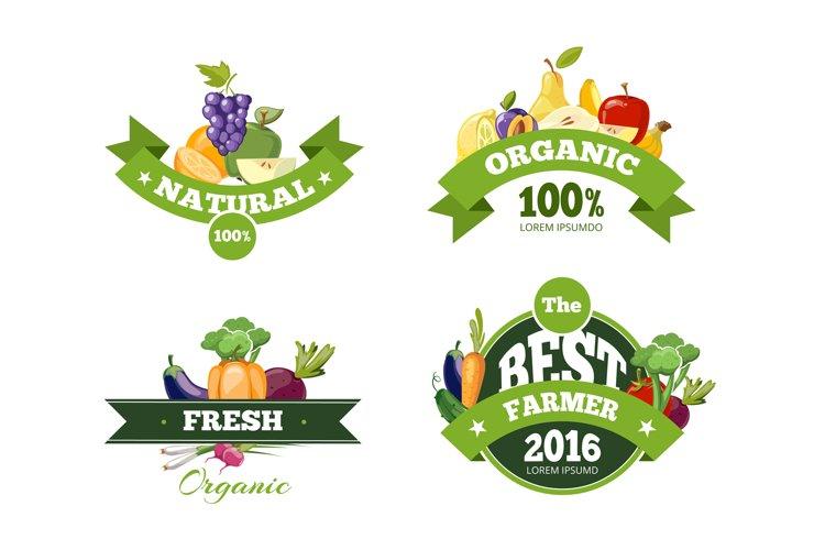 Organic farming products vector labels, emblems, badges, log example image 1