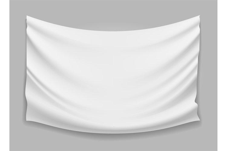 Blank white fabric flag banner