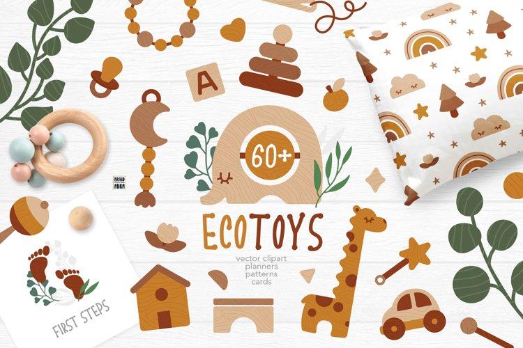 EcoToys & Eucalyptus Vector Clipart