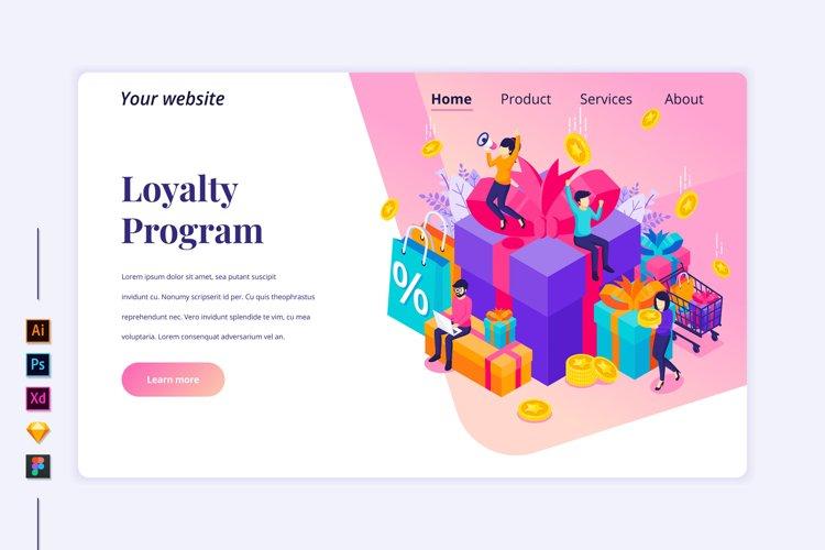 Isometric Loyalty program Landing page illustration example image 1