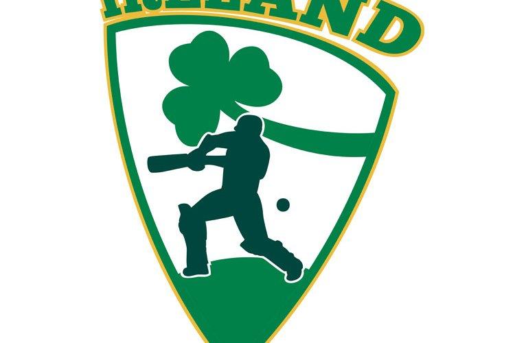 cricket batsman batting shamrock Ireland example image 1