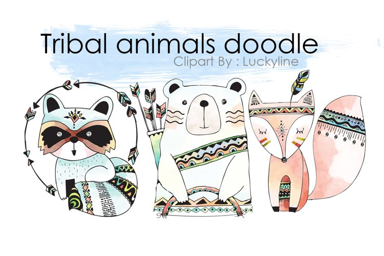 Tribal animals doodle clipart example image 1